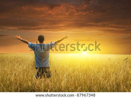 Man in yellow wheat meadow. Conceptual design. - stock photo