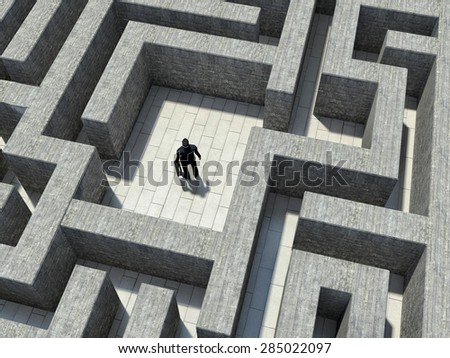 man inside an endless maze - stock photo