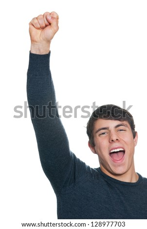 Man is cheering - stock photo