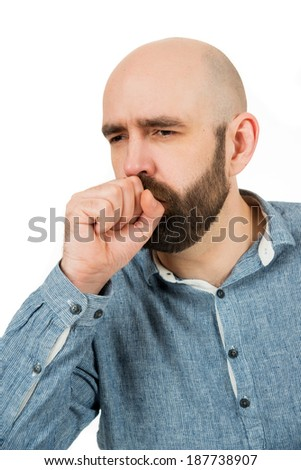 man is coughing, isolated on white - stock photo