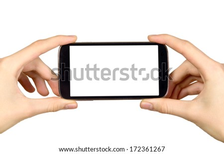 Man is holding smart mobile phone with blank screen - stock photo
