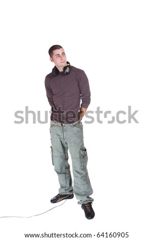 Man is listening to the music over white background - stock photo