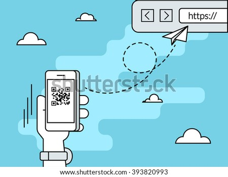 Man is scanning QR code via smartphone app then following the link to the webpage. Flat line contour illustration of barcode scanning via smartphone app - stock photo