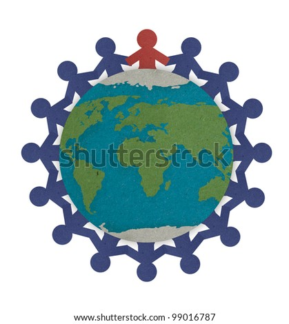 Man joining together highlight with red on the center empowering the people to protect and save the world, Save the world for future - stock photo
