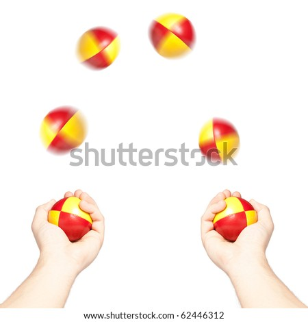 Man juggling six colorful balls, isolated on white - stock photo