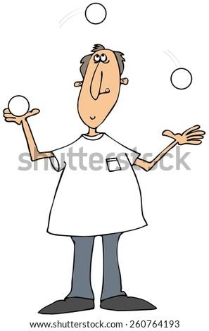 Man juggling white balls - stock photo