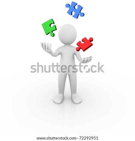 Man juggling with jigsaw puzzle pieces - stock photo