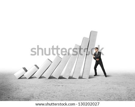 man keeps falling white columns - stock photo