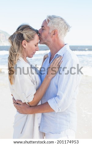 Man kissing his partner on the forehead at the beach on a sunny day - stock photo