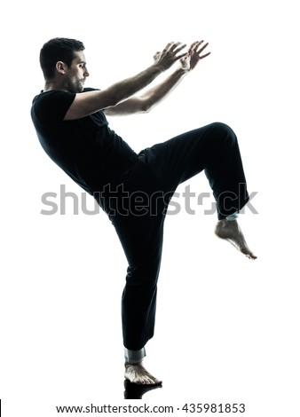 man krav maga fighters fighting isolated - stock photo