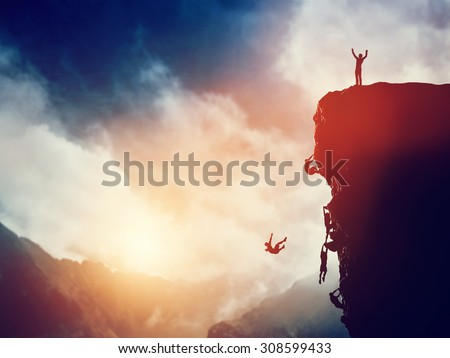 Man, leader on the peak of the mountain against others struggling to climb. Winner of the competition concept. - stock photo