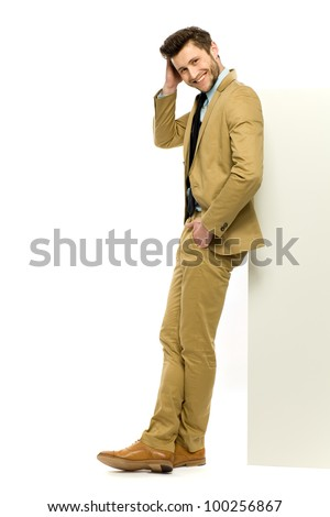 Man leaning against something - stock photo