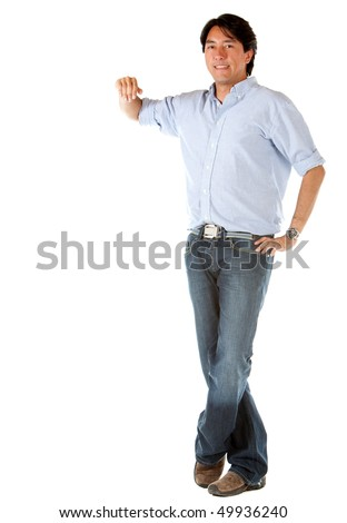 Man leaning on an imaginary object isolated over a white background - stock photo