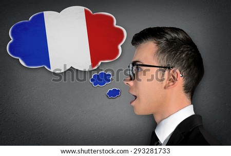 Man learn speaking french in bubble - stock photo