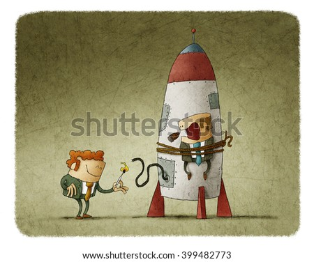 Man lighting up the rocket with man tied on it who is scary and smoking cigar - stock photo