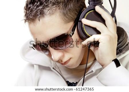 Man listening music - stock photo