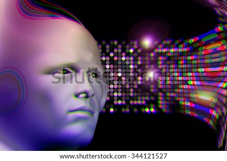Man listening to music and abstract colorful circles blur. 3d illustration. - stock photo