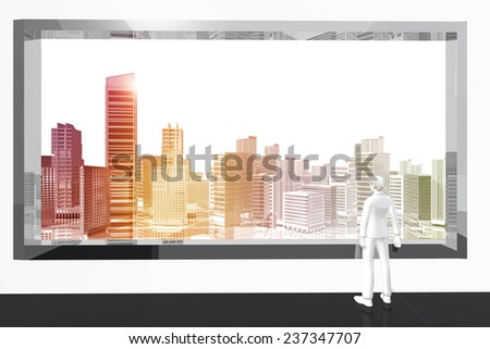 Man looking city skyscrapers through the window - stock photo