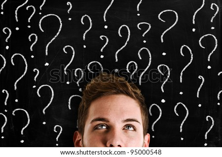 Man looking for answers - stock photo