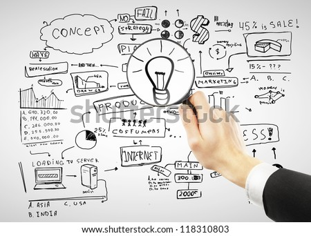 man looking for idea, closeup - stock photo