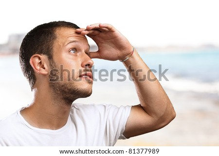 man looking forward to the future in the beach - stock photo