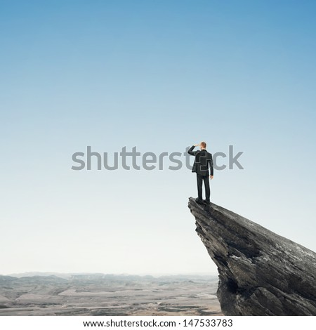 man looking landscape  - stock photo
