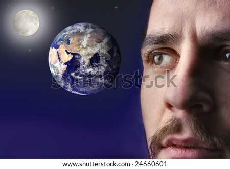 man looking the earth in the space - stock photo