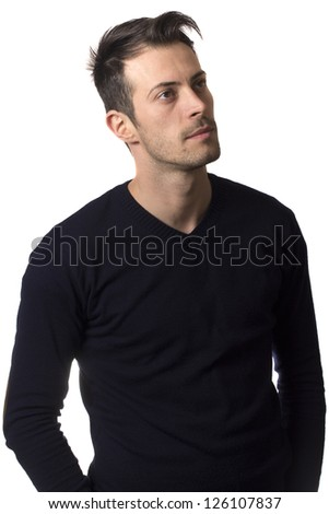 Man looking to the side isolated on a white background - stock photo