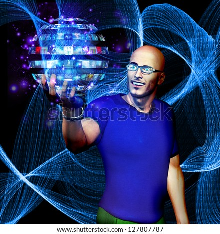 Man looks at many image sphere with binary code - stock photo