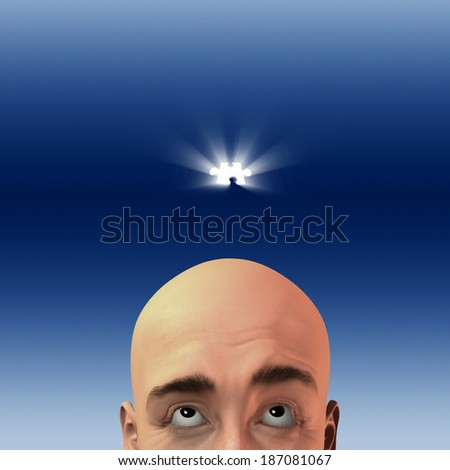 Man looks at puzzle piece - stock photo
