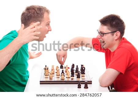 Man loses while playing chess  - stock photo