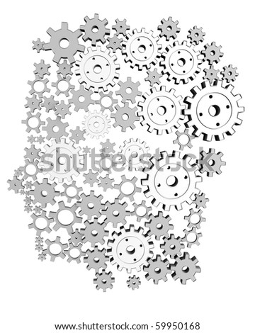Man Machine. 3d silhouette of a man made of cogs. - stock photo