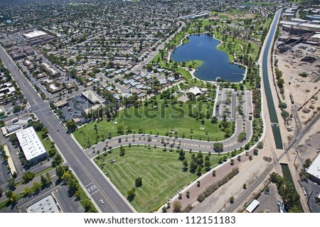 Man Made lake in Tempe at Kiwanis Park from above - stock photo