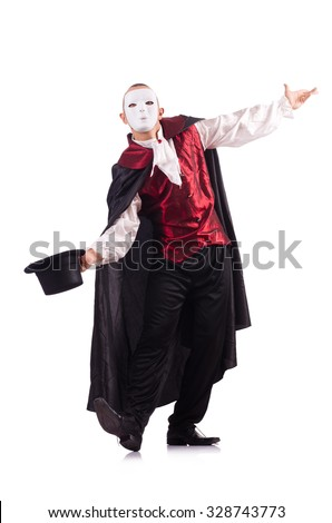 Man magician isolated on white - stock photo