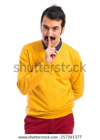 Man making silence gesture  - stock photo