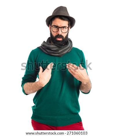 Man making surprised gesture - stock photo