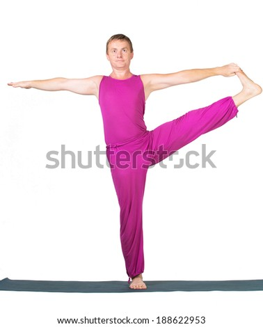 Man making yoga posture, isolated on white background - stock photo