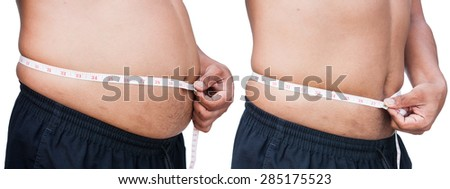 Man measuring belly fat itself,before and after between fat and thin - stock photo