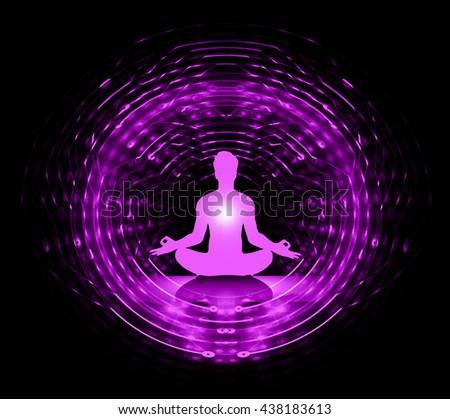 man meditate dark purple abstract background, yoga. ray. beam. - stock photo