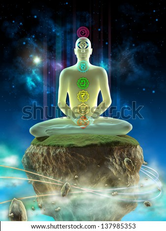 Man meditating in an imaginary landscape. Chakra points visible on his body. Digital illustration. - stock photo