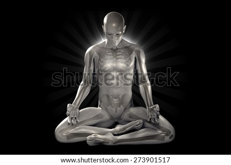 man meditating with seven colorful chakras - stock photo