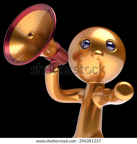 Man megaphone character making announcement golden stylized human cartoon guy person speaking people communication speaker figure news icon concept 3d render isolated - stock photo