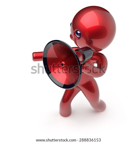 Man megaphone character news making communication announcement red stylized human cartoon guy person speaking people speaker figure icon concept. 3d render isolated - stock photo