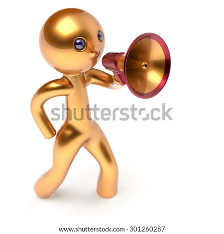 Man megaphone leader making news announcement character golden stylized human cartoon guy person speaking people communication speaker figure icon concept yellow 3d render isolated - stock photo