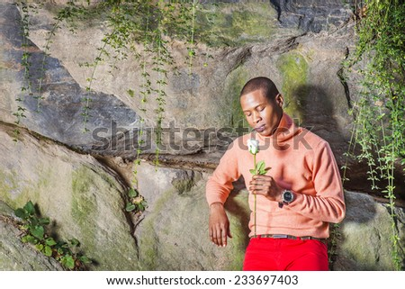 Man Missing You. Dressing in light orange sweater with high collar, red pants, wearing wristwatch, a young black guy is standing against rocks, holding a white rose, looking down, thinking. - stock photo