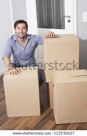 man moving house - stock photo