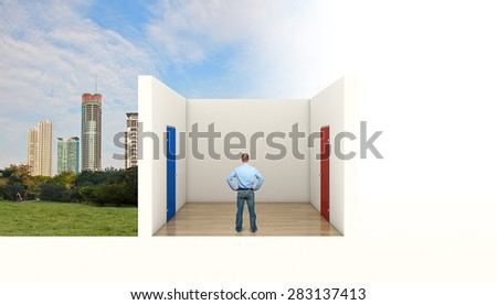 man need to take decision two doors - stock photo