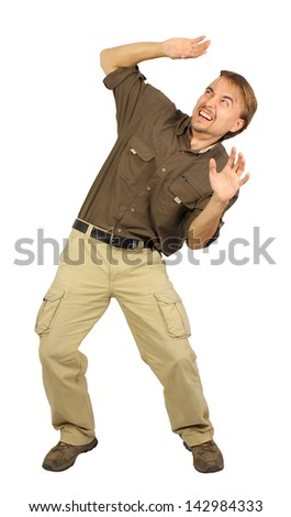man obscured by hands from the danger from above, isolated - stock photo