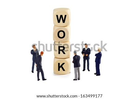 Man of Business with wooden cubes and letters - isolated on white background - stock photo