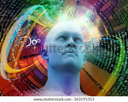 Man of Science series. Arrangement of human head, numbers and visual elements on the subject of human mind, modern technology, education and science - stock photo